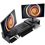 Wood Dual Monitor Stand Riser with Adjustable Length...